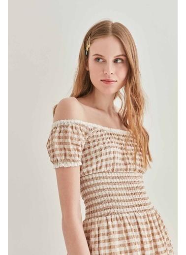 Vitrin VİTRİN Güpür Şerit Detaylı Uzun Country Elbise Vizon
